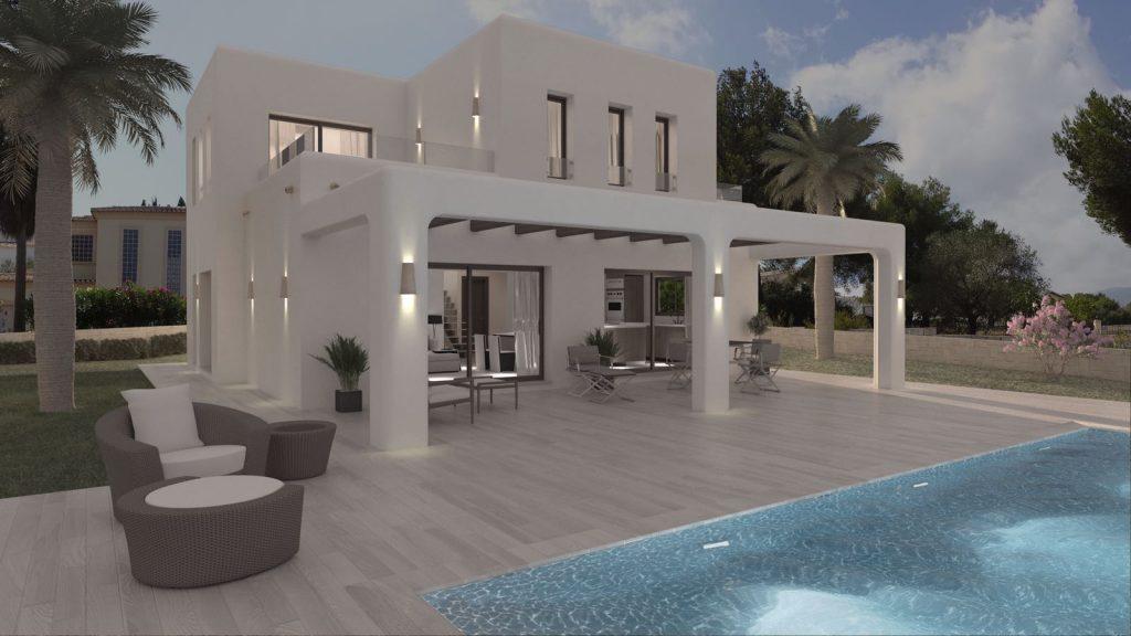 Ibiza stijl villa in Moraira te koop